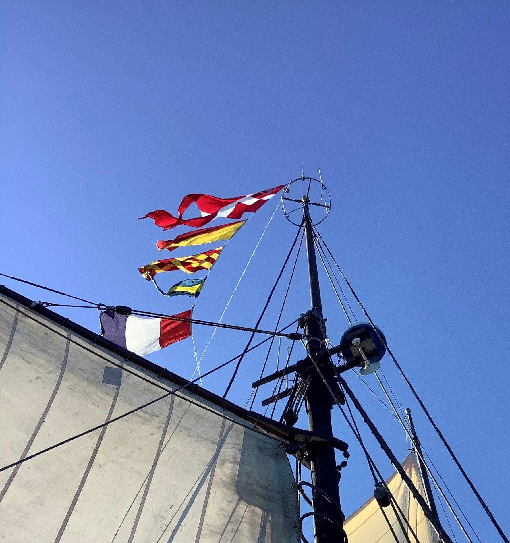Danebro og signalflag i toppen af masten